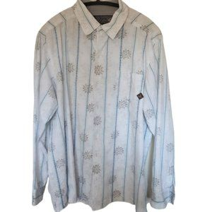PRANA casual men white blue stripe shirt